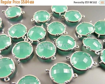 15% OFF 2 mint green 12mm glass connectors, light green faceted round glass connectors, jewelry 5014R-MI-12 (bright silver, mint, 12mm, 2 pi