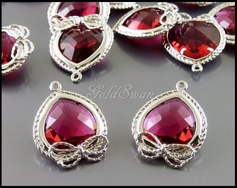 2 pink ruby glass crystal stone with silver bow frame, cute jewelry pendant 5142R-RU