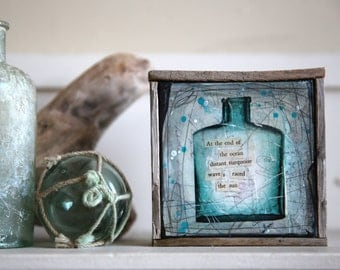 "Message In A Bottle No. 8 - 4.5"" x 4.5"" original framed mixed media painting on canvas"