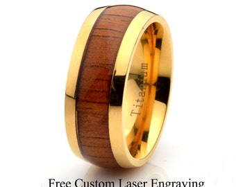 Titanium Wooden Ring, Mens Women's Wedding Band, Domed, wood ring, titanium wooden band, 8mm titanium ring, wood ring, Yellow Gold Plated