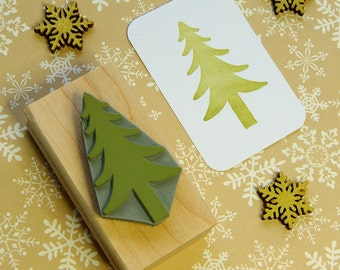 Christmas Tree Rubber Stamp  - Tree Stamper - Stocking Stuffer Filler - Pine Tree - Forest - Winter Scrapbooking - Card Making - Xmas