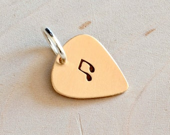 Bronze guitar pick charm handmade with a musical touch - CH847