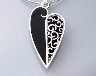 Ivy Woodrose sterling silver, PMC, and resin enamel heart pendant
