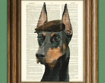 Olaf the Doberman Pinscher Dobie in a hat dog beautifully upcycled vintage dictionary page book art print