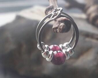 Niobium Wine Red Garnet Earrings. Small Garnet Hoops. Hypoallergenic Nickel Free Earrings. Small Hoop Earrings. January Birthstone.