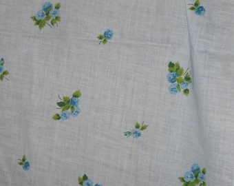 Vintage Cotton Sheeting~5 Yards~Blue Roses~Baby Blue Fabric~1950s-60s Fabric