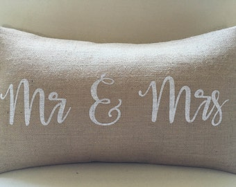 READY TO SHIP Mr and Mrs burlap (hessian) pillow cover hessian cushion cover wedding present white letters