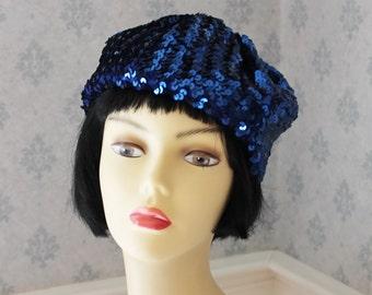 Vintage 1960s Sparkling Blue Sequin Gavroche Designer Knit Hat
