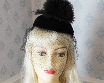 Vintage 1940s Black Velvet Feather Pom Pom Hat with Veil