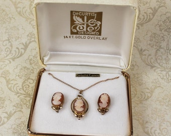 Vintage DeCurtis 14K Gold Filled Cameo Necklace and Screwback Earrings Set