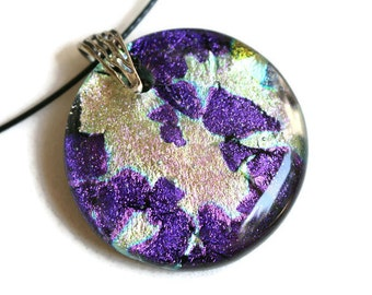Dichroic Glass Pendant, Large Fused Glass Pendant, Glass Necklace,  Dichroic Fused Glass Necklace, Purple, Dichroic Pendant, Dichroic Glass