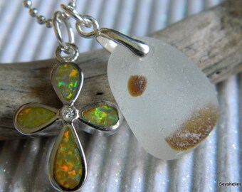 Sea Glass with Fire Opal, Sterling Silver Cross Pendant, Seyshelles Necklace