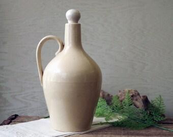 Vintage Stoneware Jug - Olive Oil Jug with Stopper - Antique Stoneware Bottle