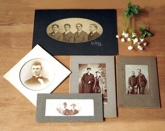 Vintage Photographs - Men in High Collars - Mounted Photos - Antique Black & White Photography - Men in Twos - The Dapper Man Photography