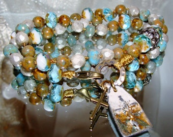 Hand knotted Picasso beads cross charm wrap bracelet or necklace pamelia designs Sacred Jewelry religious bracelet