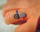 Evil eye ring - evil eye sterling silver ring -blue Evil Eye Ring - Adjustable- Stacking Ring - Statement Ring - Cocktail Ring - love ring