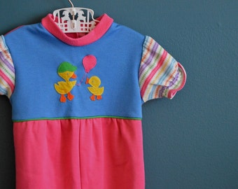 Vintage Toddler Girl's Pink and Blue Jumpsuit with Duck Appliques - Size 12-18 Months