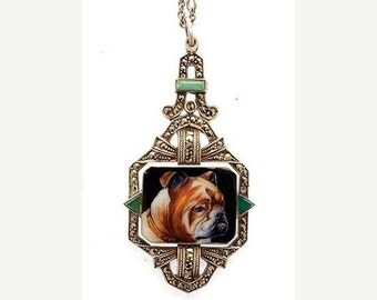 CIJ Christmas July SALE Stunning RARE Art Deco Sterling Silver Jade Hand Painted Bull Dog Portrait Cameo Vintage Antique Necklace Art Deco J