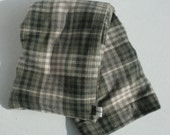 Hot/Cold Rice Bag - Soft Rustic Tan and Green Plaid Flannel Shirting
