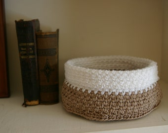 Crochet Basket, Catchall in Natural and White