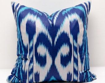 15x15 blue ikat pillow cover, blue pillows, blue ikats, blue, decorative pillow, throw pillow, accent pillow
