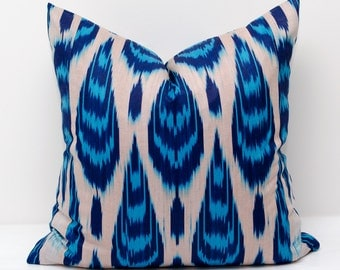 20x20 blue ikat pillow cover, ikat pillows, ikats, ikat cushion,  blue white pillows, blue white, ikat pillow, ikats, cushion, blue pillow,