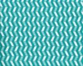 "TEAL/WHITE GEOMETRIC Cotton Fabric - 1 yard x 42"" wide - brand new."