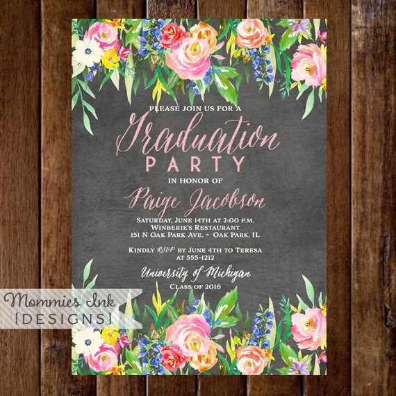 Graduation Party Invitation Watercolor Flowers Invitation Floral