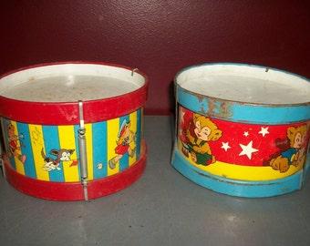 Pair of Children's Tin Toy Drums