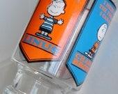 1 Vintage PEANUTS GANG Collectible Glass, Juice Pitcher, Desk Organizer, Flower Vase, Blue & Orange - Snoopy, Lucy, Linus, Charlie Brown