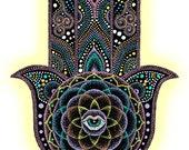 Instant Download Printable Art. Dot Hamsa Hand Mandala.