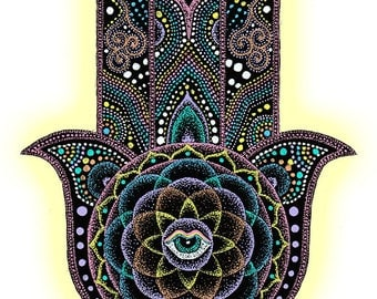 Instant Download Printable Art. Dot Hamsa Hand Mandala.