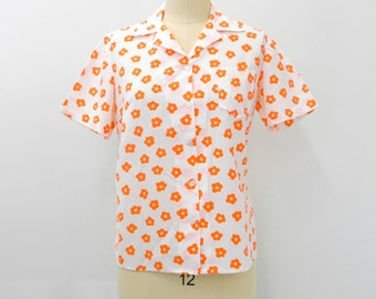Vintage 60s Blouse...Handmade Button-up Blouse...Orange Floral Button-up Top...Mid Mod Blouse...Plus Size Blouse...Size Large to Extra Large