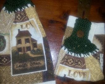 Crochet top kitchen towel - Love