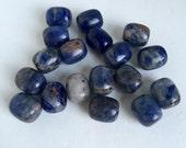 Large Natural Denim Lapis Semi-Precious Gemstone Crystal Barrel Beads DESTASH full strand loose