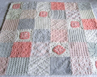 Ready to ship!  Trendy - Iconic 1950's colors!  Boutique Quality Vintage Chenille  Baby Quilt