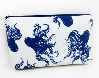 Blue Octopus, Make Up Bag, Cosmetic Zipper Pouch, Pearl Gray, Cotton and Steel Fabric