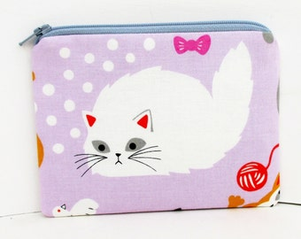 Soft Kitty Small Zipper Pouch, Cat Coin Purse, Lavender and White