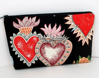 Zippered Make Up Bag, Valentine Hearts of Love, Mexico, Black Zipper Pouch, Alexander Henry Fabric