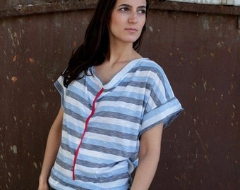 Winter Sale 15% Off!!! under 50,  Open back azure stripsT-shirt in white, choose your color
