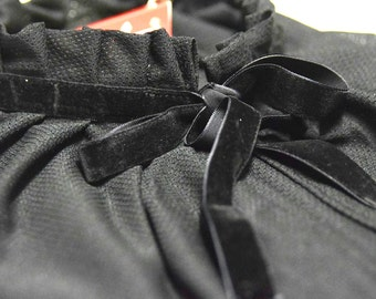 Black net, black velvet tying, loose fit blouse