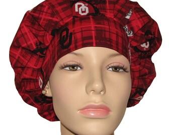 Scrub Hats - University of Oklahoma Sooners Plaid Print Fabric