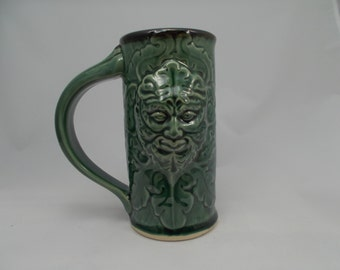 Greenman Beer Stein, Emerald Green, Sculpted, Carved Design of Gargoyle & Oak Leaves, Celtic Myth,