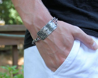 Mens Sterling Silver Chain Bracelet, Hammered Plaque