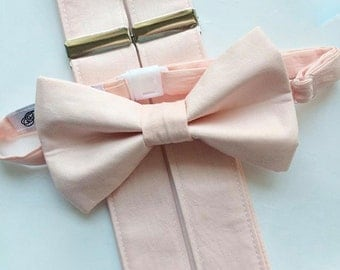 Little and Big Guy Bow tie and Suspender SET -Solid Blush Pink -(Newborn-Adult)