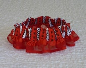 "Paw Stripes on Red Dog Scrunchie Collar - organza ribbon ruffle - Size L 16"" to 18"" neck - REDUCED PRICE"