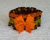 "Custom for Julie - Autumn Stripes Dog Scrunchie Collar with orange bow - Size XS: 10"" to 12"" neck"
