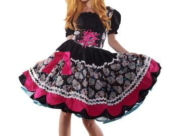 MOVING SALE Sugar Skull Day of the Dead Dia de los Muertos Dress Unique Couture Halloween Costume Cosplay Anime Gothic Lolita Dress Small