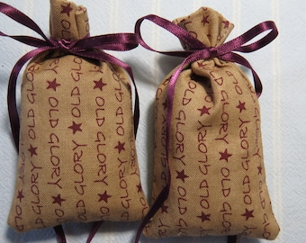 "Patriotic Brown 3""X2"" Sachets-'Brown Sugar' Fragrance-Cotton Fabric Herbal/Botanical Sachet-Cindy's Loft-593"