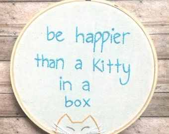 Kitty Embroidery Hoop Wall Hanging